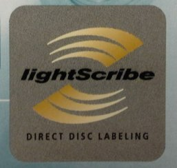LightScribe logo that identifies CDs and DVDs as LightScribe compatible, as well as recording drives and software.