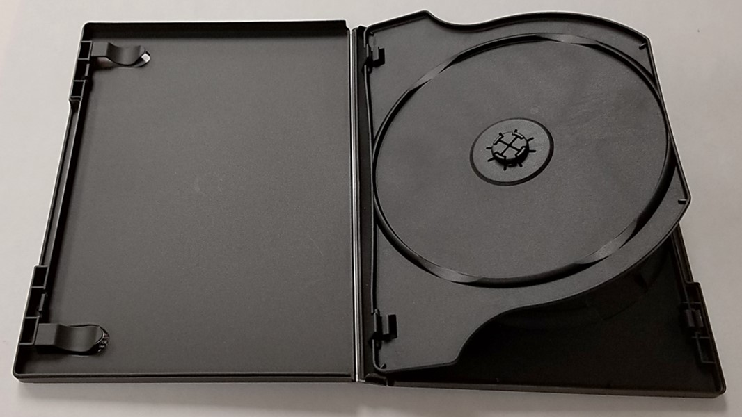 2 CD Amaray case for storing optical discs. The tray pivots at the spine of the case, similar to a page in a book.
