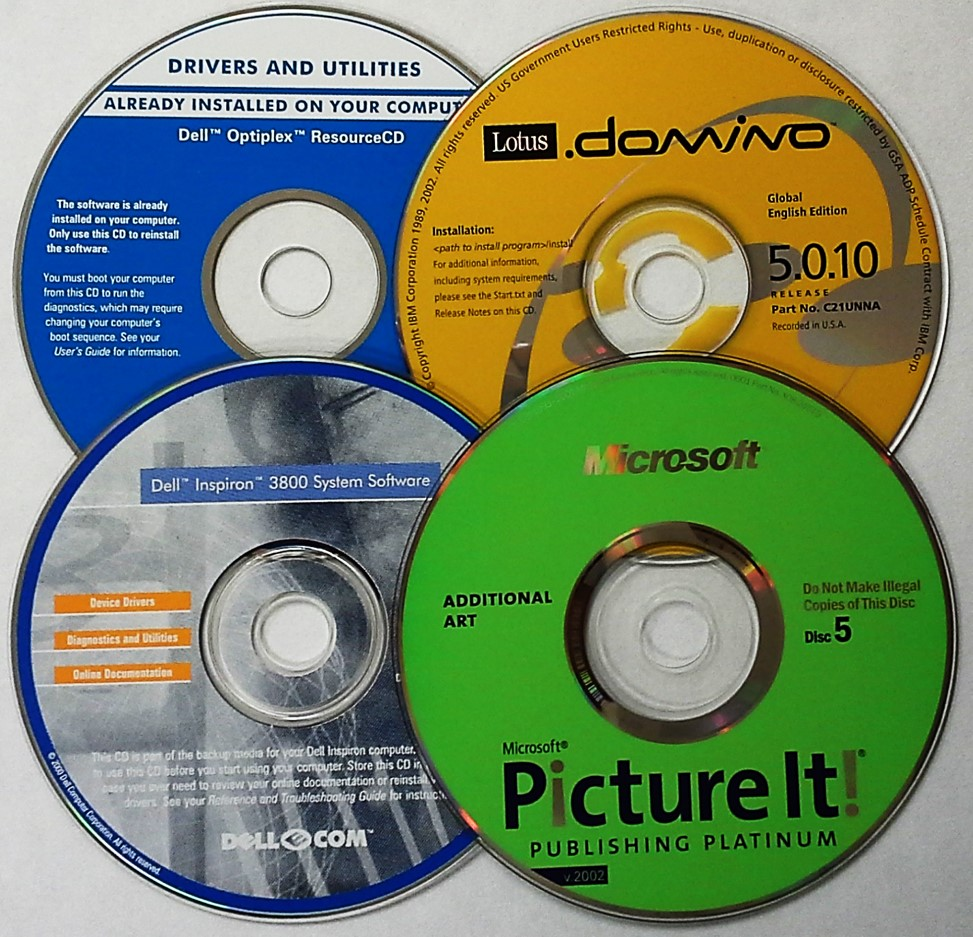 A variety of CD-ROM or compact disc read only memory discs that can be used to store software, videos, pictures, and other digital content.