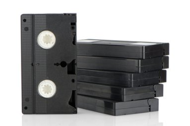 Blank VHS cassette tapes for recording analogue video.