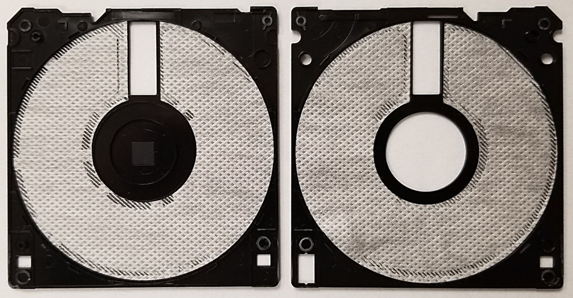 Fabric liner inside of a 3.5-inch floppy disk housing that is used to lubricate the diskette and wipe it during use to keep off any dust and debris.