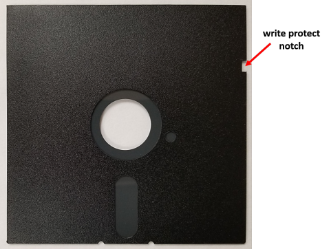 Write protect notch in a 5.25-inch floppy disk jacket. To protect the disk from being erased or written to, this notch is covered with adhesive tape.