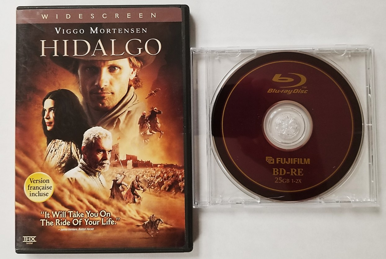 Hidalgo Blu-ray movie disc stored in an Amaray case. A BD-RE or rewritable Blu-ray disc from Fujifilm stored in a jewel case as recommended.