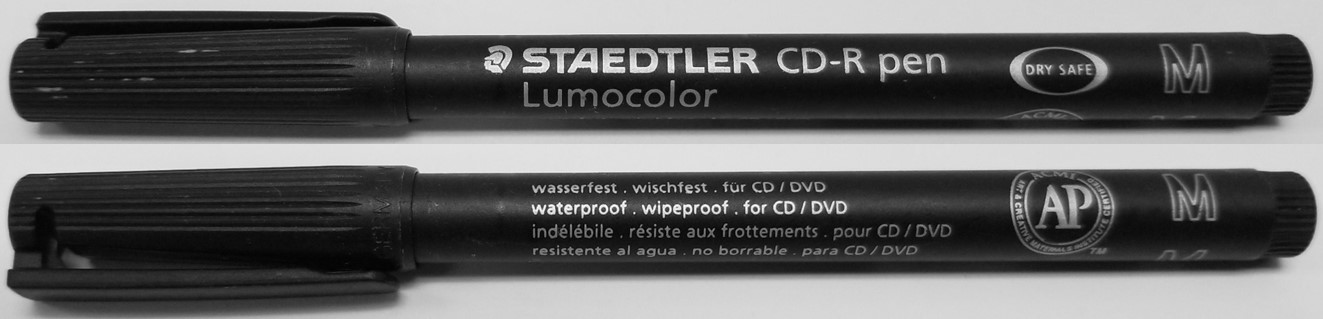 CD or DVD marking pen by Staedtler. This type of marker uses permanent ink and is used to label CDs, DVDs, and Blu-ray recordable media in order to identify the contents recorded on the disc.