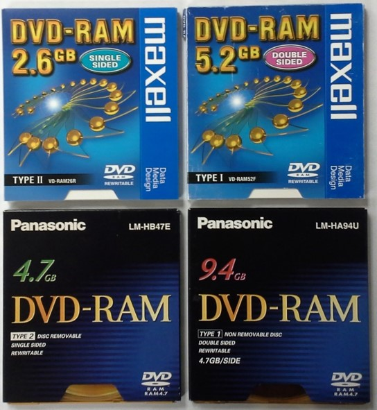 The DVD RAM formats - 2.6 GB single-sided, 5.2 GB double-sided, 4.7 GB single-sided, and 9.4 GB double-sided.