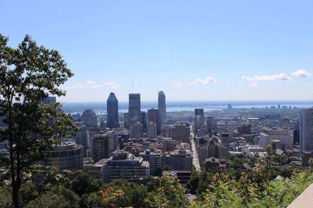 Montreal downtown overhead view digital photograph taken from Mont Royal.