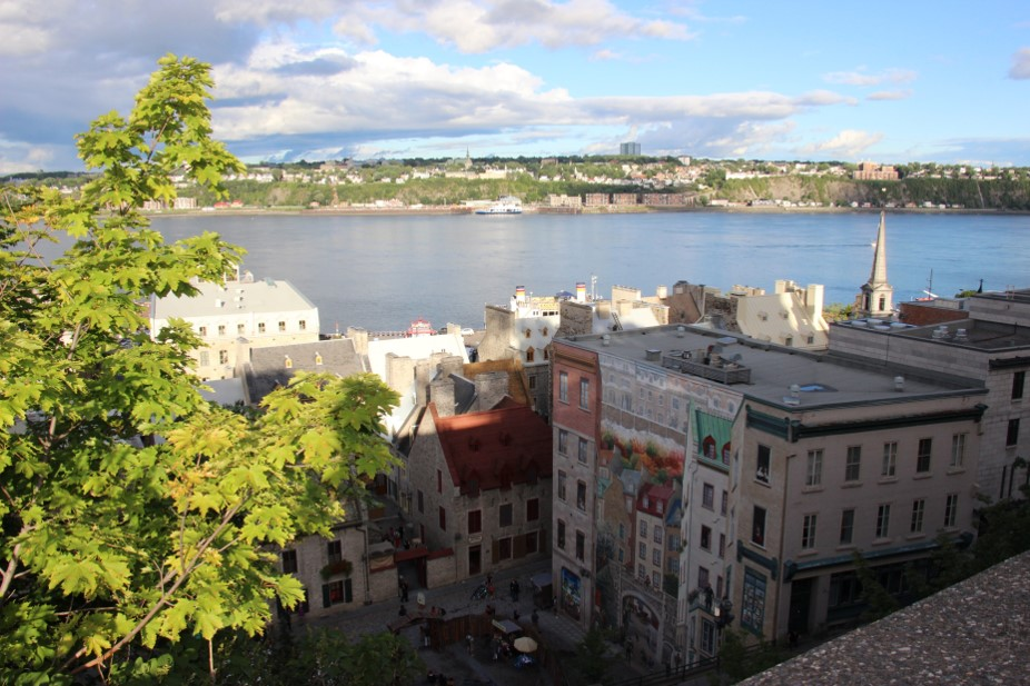 Digital photograph of a scenic view taken from an elevated area in Quebec City overlooking the water.