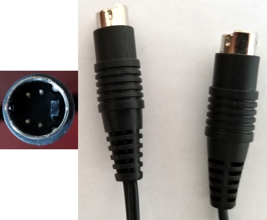 The ends of a S-Video cable and a close up image of the 4-pin arrangement found in the plug of this cable. The S-Video cable provides a better output video signal from the VCR.