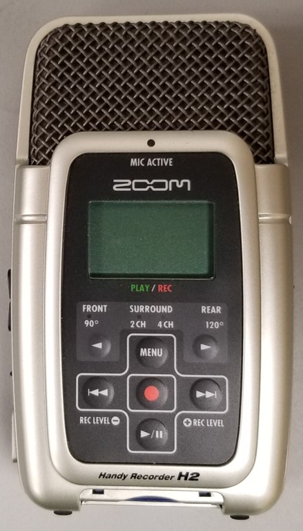 Zoom H2 digital recorder for recording MP3 files and digitizing analog audio recordings to digital MP3 file format.