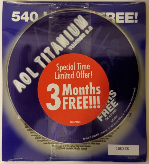 Replicated CD and its packaging used to promote the AOL internet service. Millions of these CDs were manufactured and distributed.