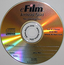 A gold archival cd-r or recordable cd for long term digital storage. This disc is from Delkin eFilm and is a rebranded MAM gold disc.