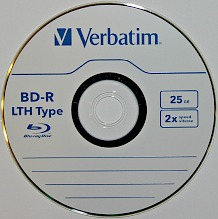 BD-R LTH or Blu-ray recordable low-to-high using a dye recording layer to store digital information. This is a single layer 2x 25 GB disc from Verbatim.