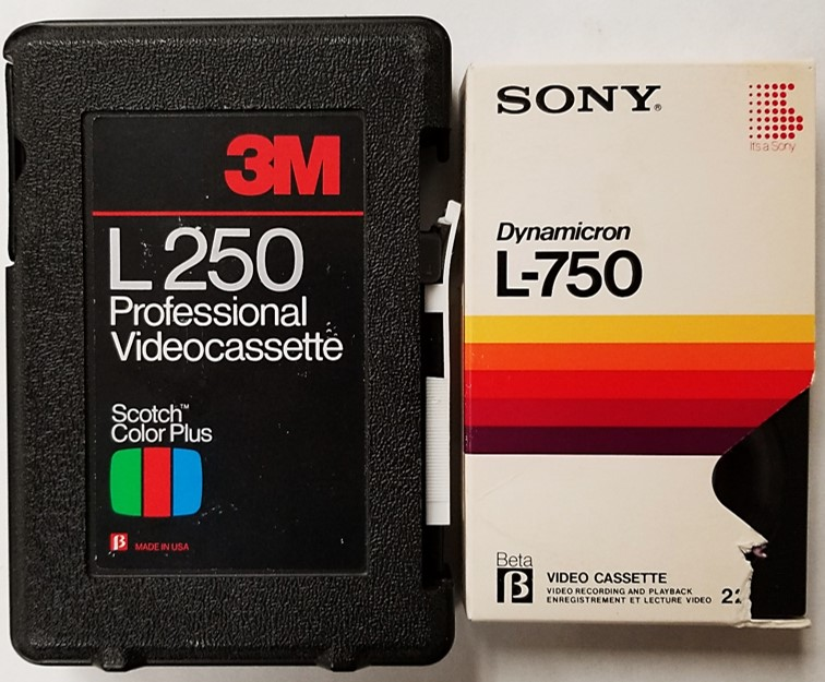 Sony Betamax L-250 and L-750 videotape formats found in a rigid plastic case and a paper jacket.