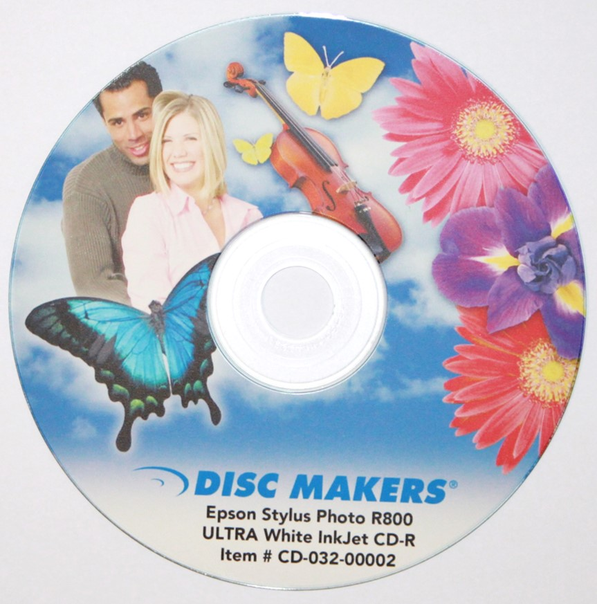 A CD with a color inkjet printed label. A special inkjet printer is required as well as optical discs with a special top coat designed for accepting the ink from the printer.