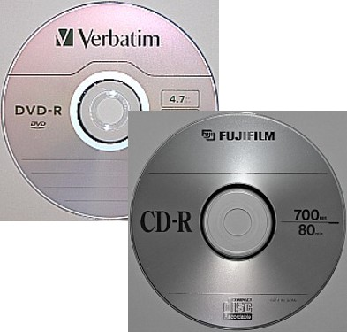 A CD-R or recordable CD and a DVD-R or recordable DVD optical disc storage media.