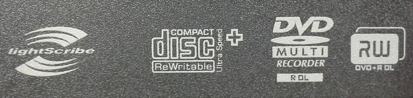 Faceplate of a CD and DVD recording drive showing the compact disc rewriteable Ultra High Speed Plus logo. Other logos shown are LightScribe and DVD Multi for dual layer disc.
