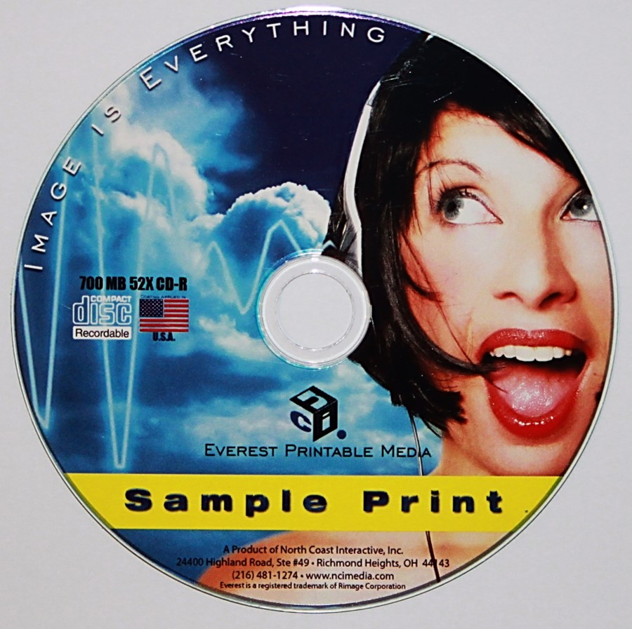 A CD with a thermal printed color label. A special thermal printer is required, but no special requirements for the discs are needed. These labels are professional looking and very durable.