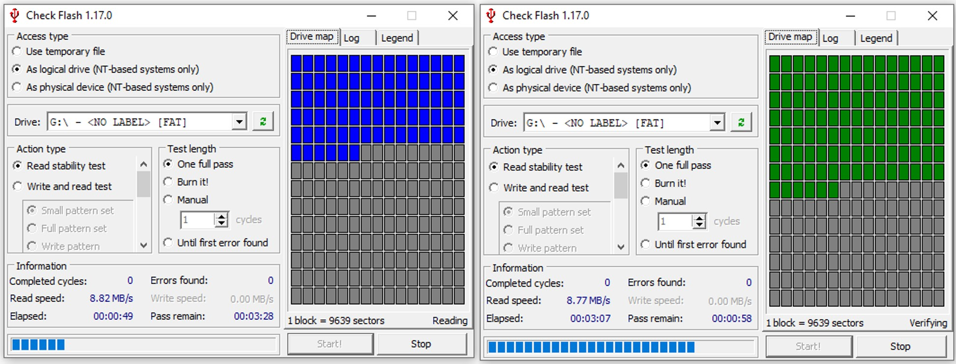 Screen capture of Check Flash software during an analysis of a USB flash drive and showing the blocks being read (in blue) and verified (in green).