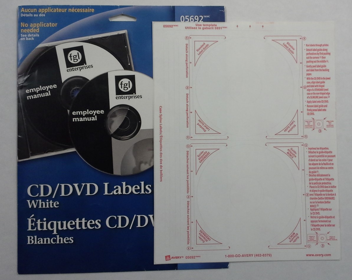 Circular CD and DVD adhesive labels by Avery, used to label optical discs in order to identify the contents recorded on the disc.