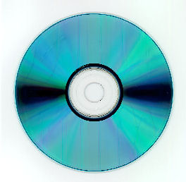 A recordable CD or CD-R with cyanine dye and silver alloy metal layer. When viewing the disc from the base side, it can appear in various shades of blue.