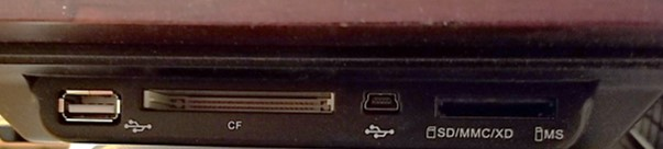 Side view of a digital frame showing connections such as the USB port, Compact Flash (CF) card slot, Secure Digital (SD) card slot and more.