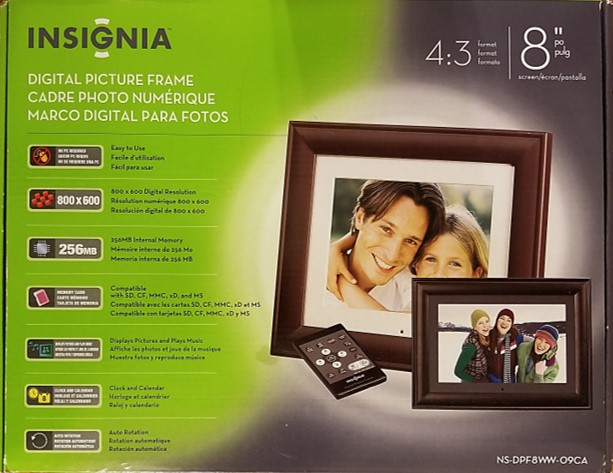 Digital photo or picture frame from Insignia. This is an 8 inch frame in 4:3 format, 800x600 resolution, 256MB internal memory, and many other features.