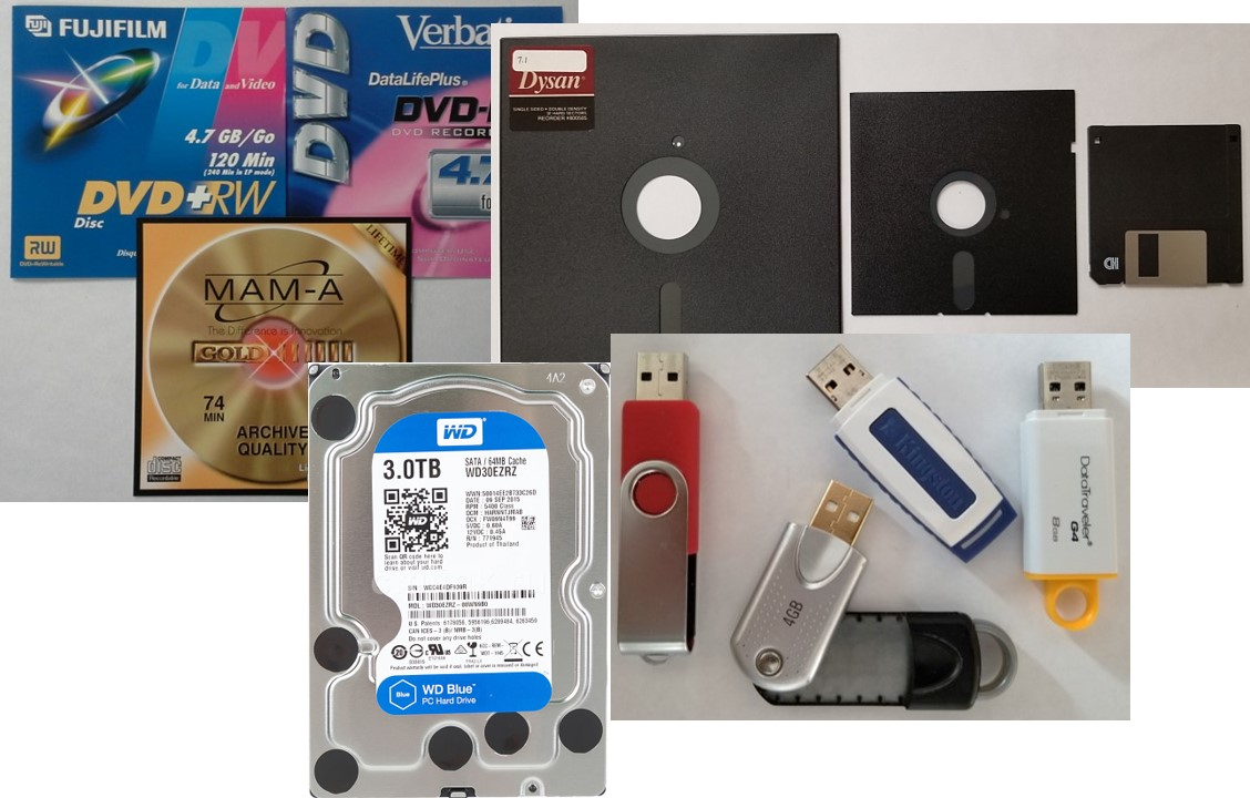 Assorted digital storage media such as optical discs, floppy disks, hard disk drive, and flash media.
