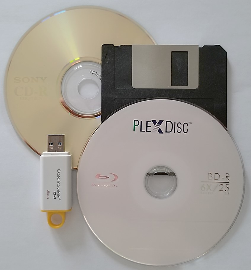 Different digital media such as a recordable CD or CD-R, a BD-R or recordable Blu-ray disc, a floppy disk, and a USB flash drive.