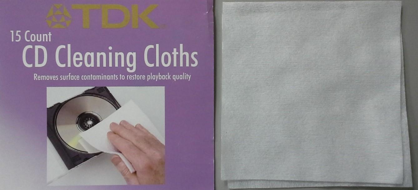 Optical disc cleaning cloths from TDK. These cloths are non-abrasive and non-lint producing and are used to remove debris from CDs, DVDs, and Blu-rays, without causing scratches.