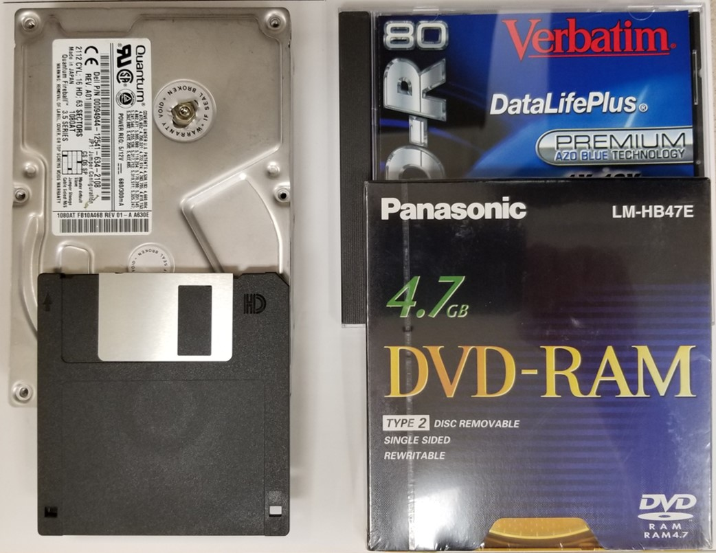 Image of a hard disk drive, 3.5 inch floppy disk, DVD-RAM disc, and CD-R disc or recordable CD.