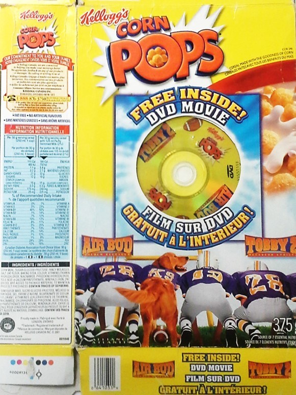 Free DVD movie give away of Air Bud or Tobby 2 with the purchase of Kellogg's Corn Pops breakfast cereal. The DVD is incorporated in the front packaging of the cereal box.