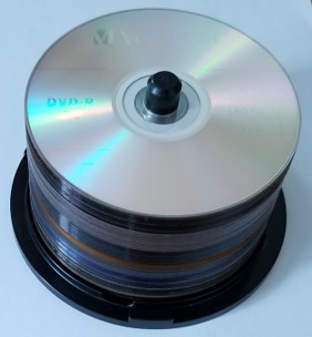 A spindle of DVD-R or recordable DVDs ready to be used in DVD duplication.