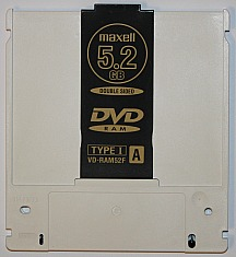 A 5.2 GB DVD-RAM disk is a double-sided erasable optical disk usually found in a cartridge.