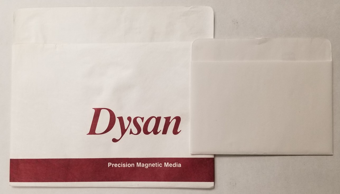 Paper and Tyvek storage sleeves for floppy disks. These sleeves for 8-inch and 5.25-inch floppy disks are better than no sleeve, but they only provide minimal physical and dust protection.