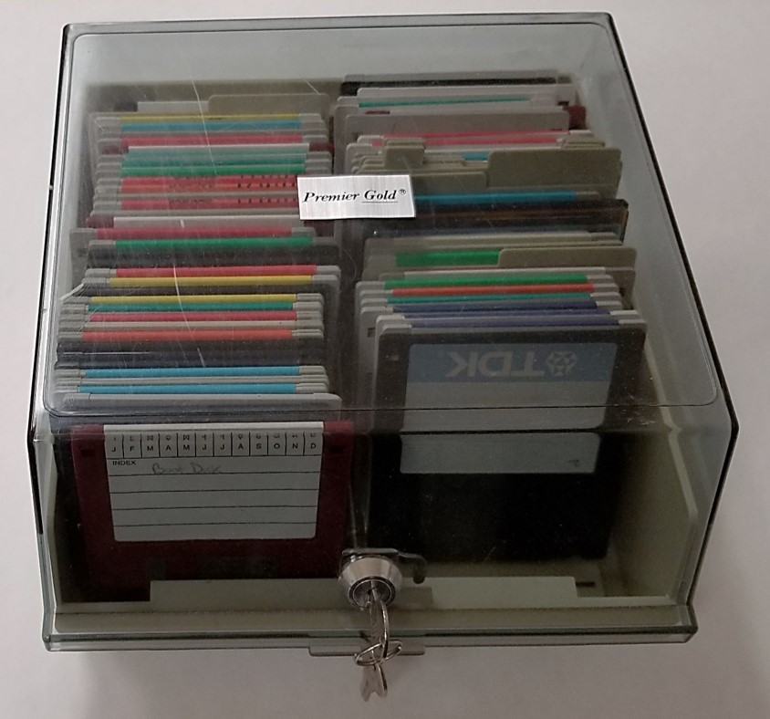 A floppy disk storage case for the vertical storage of 3.5-inch diskettes. This case provides physical protection, excludes dust and debris, and comes with a lock for some security.