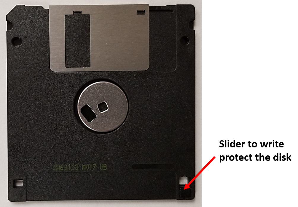 Write protect slider in a 3.5-inch floppy disk jacket. To protect the disk from being erased or written to, this notch slides and covers up the hole.