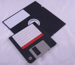 3.5 inch and 5.25 inch floppy diskettes for data storage