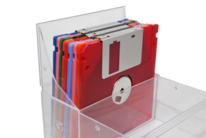 Floppy disk plastic storage box for the vertical storage of 3.5-inch diskettes. This box offers physical protections and helps keep out dust and debris.