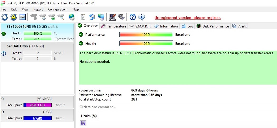 Hard Disk Sentinel software for monitoring the health and performance of hard disk drives. Shown is the Overview tab.