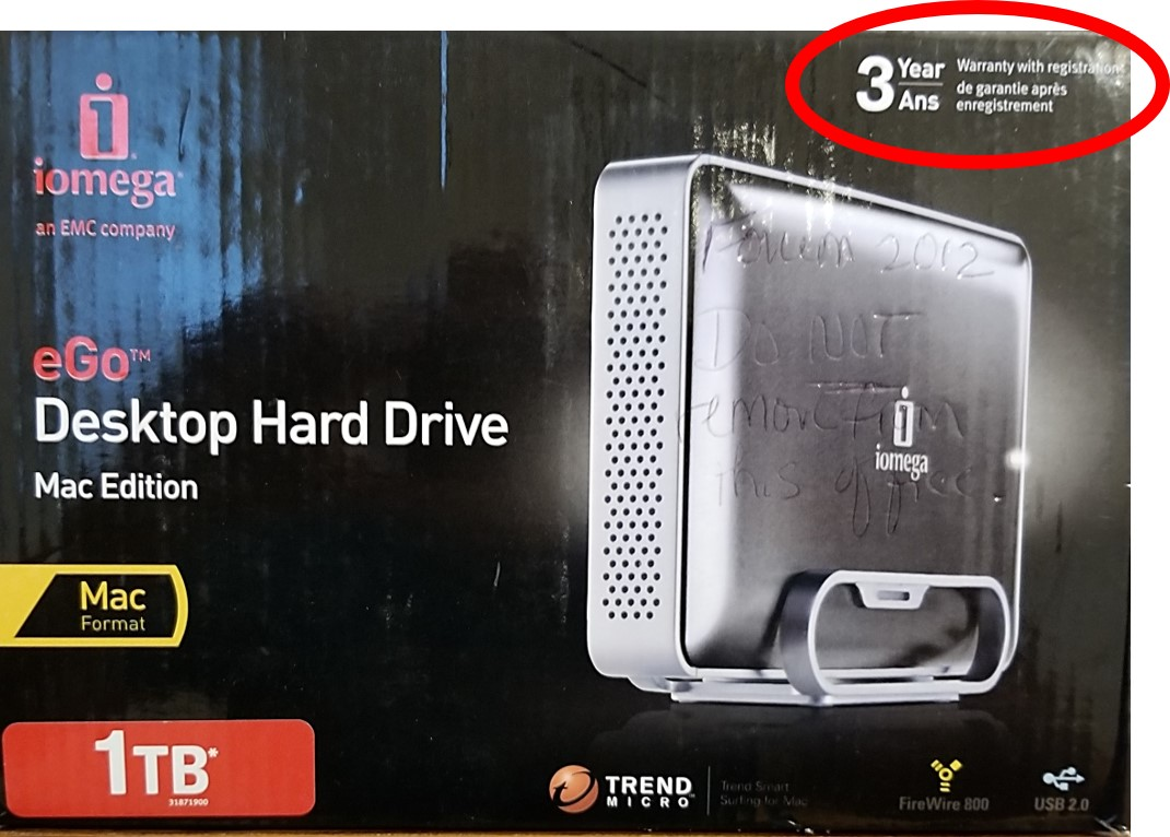 A box for an external hard disk drive from Iomega. Circled is the 3-year warranty statement for this hard drive. This length of warranty indicates it is not a cheap hard drive.