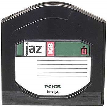 Iomega Jaz Disk of 1 GB capacity. This cartridge contains the hard disk but not the mechanical components to read the disk. These components are found in the Iomega Jaz Drive.