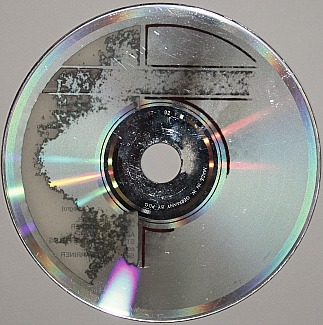 Disc rot or laser rot as seen from the back of an audio CD.