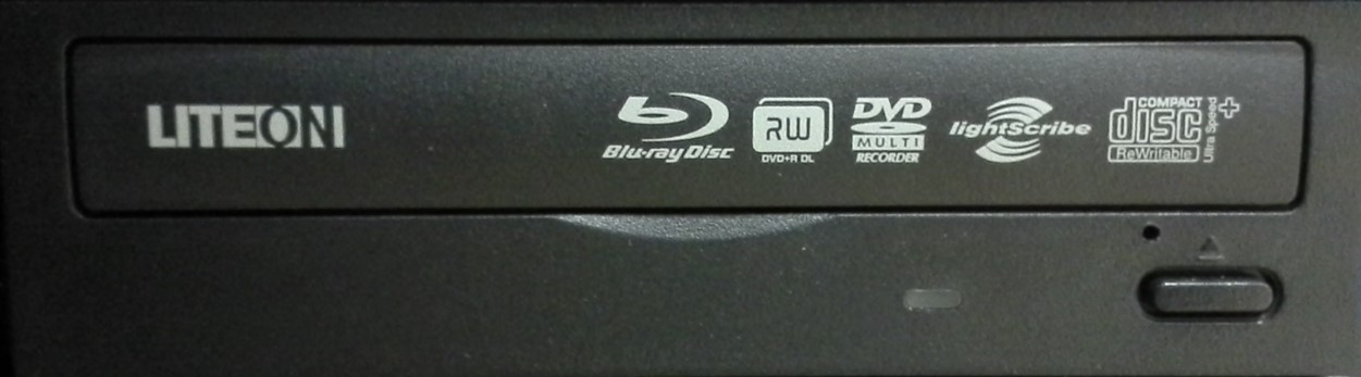 A photo of the front of a LITEON recordable optical drive that is LightScribe enabled and showing the LightScribe logo as well as other drive capabilities.
