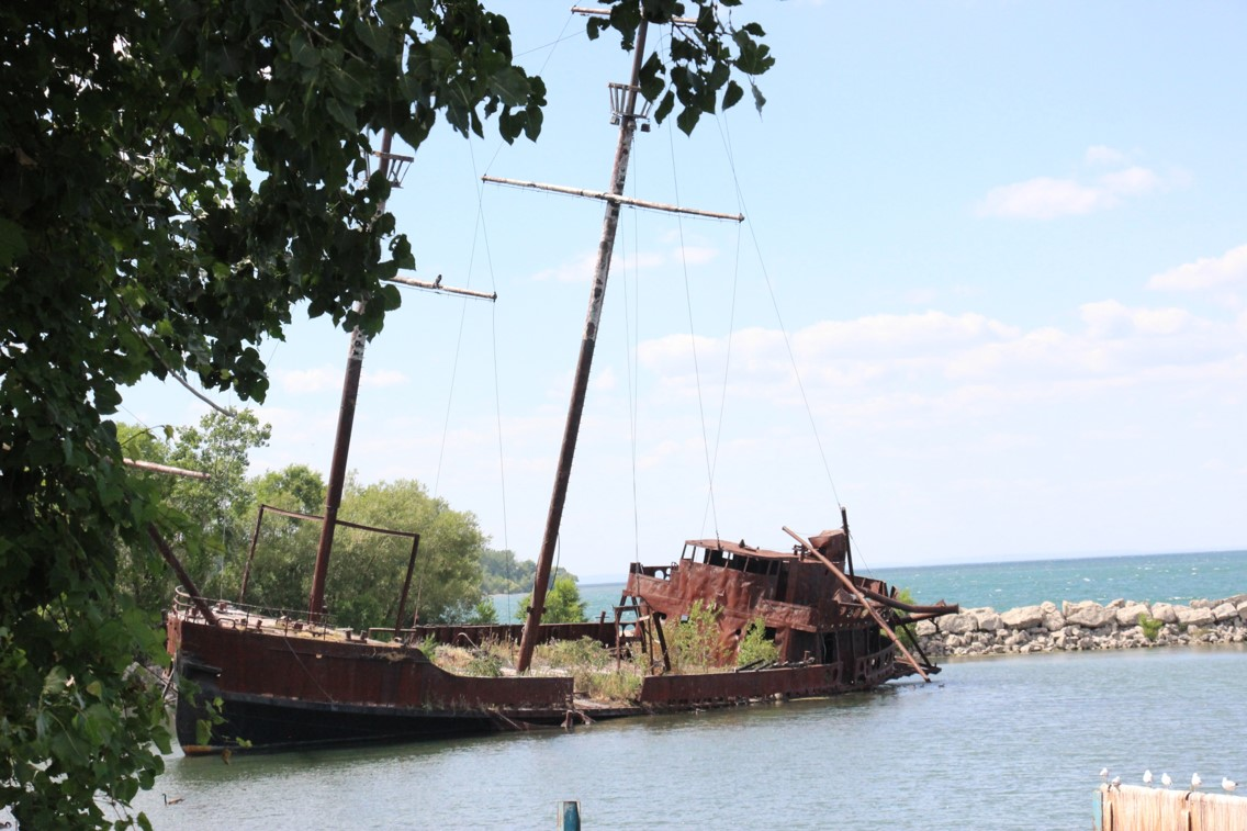 Digital picture of an old abandoned pirate type ship (La Grande Hermine) on the western shore of Lake Ontario close to Niagara Falls in Ontario, Canada.