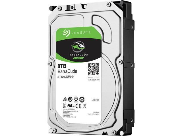 A picture of a 8TB Seagate internal hard disk drive.