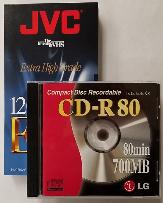 VCD or Video Compact Disc can be made from recordings on a VHS videotape cassette by using a blank CD-R disc.
