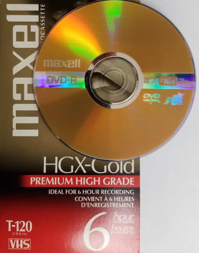 VHS video tape and DVD-R disc that are used to digitize video with VHS to DVD recorders.