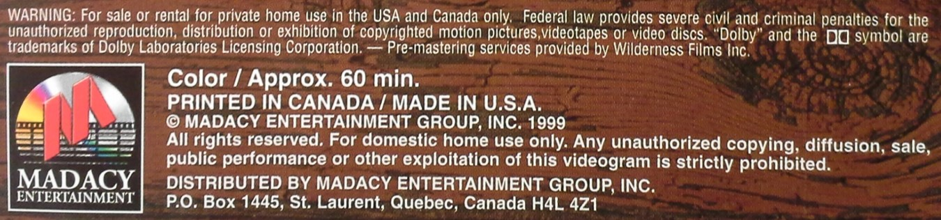 DVD copyright statements found on the back of the Amaray case of a DVD movie disc.