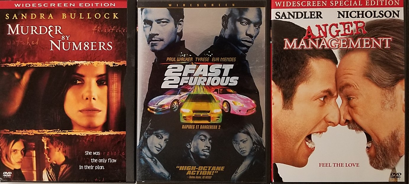 DVD movies available from the BMG DVD Club or Columbia House DVD club.