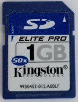 A Kingston 1 GB capacity SD or Secure Digital card. This flash card is used in digital SLR cameras to provide more storage capacity for the camera.